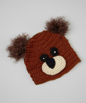 Brown & Black Bear Beanie