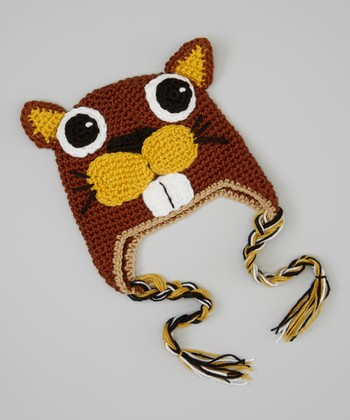 Brown & Yellow Beaver Earflap Beanie