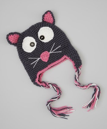 Gray & Pink Cat Earflap Beanie