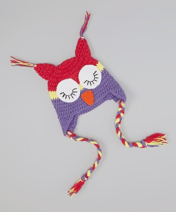 Hot Pink & Purple Owl Earflap Beanie