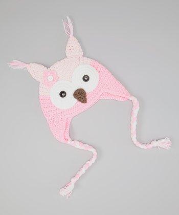 Pink & White Owl Earflap Beanie