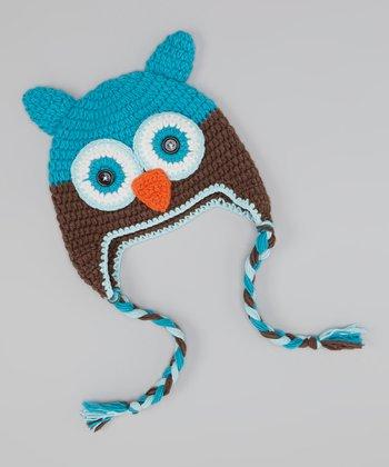 Teal & Brown Owl Earflap Beanie