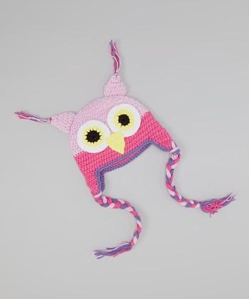 Light Purple & Hot Pink Owl Earflap Beanie