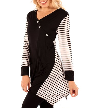 Black & White Stripe Panel Surplice Tunic - Women