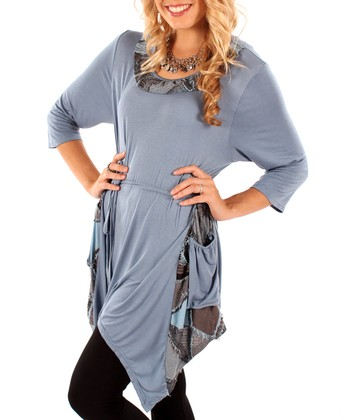 Blue Patchwork Pocket Tunic