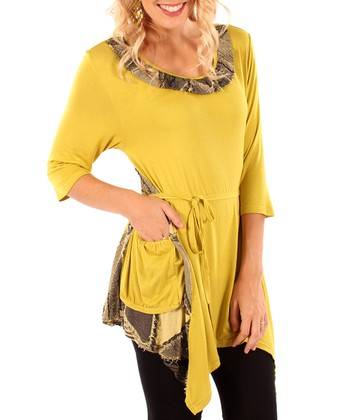 Olive Patchwork Pocket Tunic