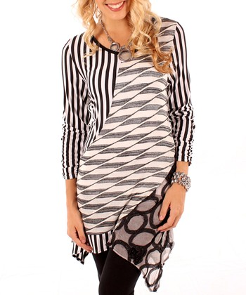 Black & White Abstract Stripe Tunic