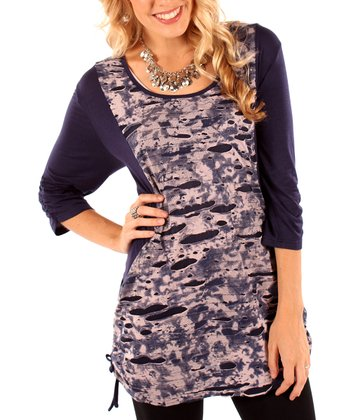 Navy Abstract Cinch-Side Tunic - Women