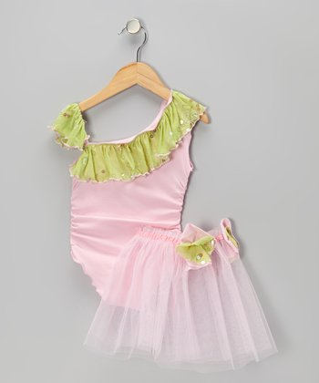 Pink & Purple Fabiana Ruched Leotard & Tutu - Toddler & Girls