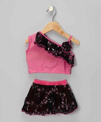 Pink Stacey Asymmetrical Crop Top & Skirt - Toddler & Girls