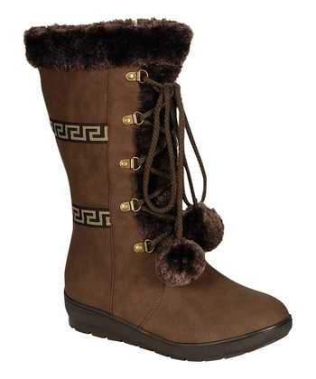 Brown Coco Pom-Pom Boot