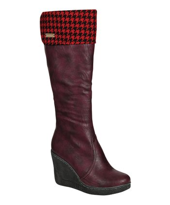 Burgundy Ann Wedge Boot