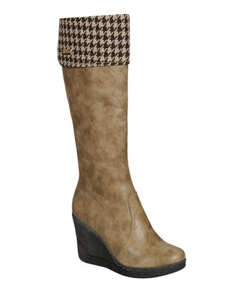 Khaki Ann Wedge Boot