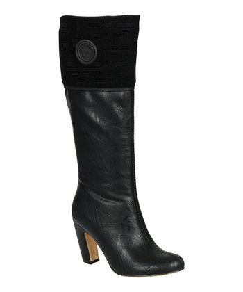 Black Alta Button Boot