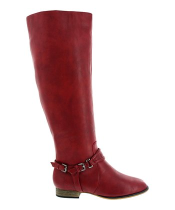 Red Ankle Buckle Carison Boot