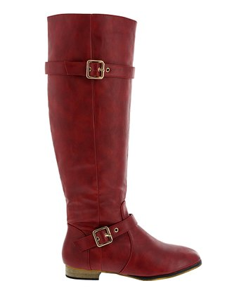 Red Double-Buckle Carison Boot
