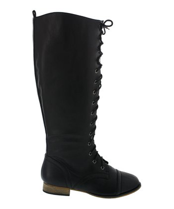 Black Lace-Up Kaja Boot