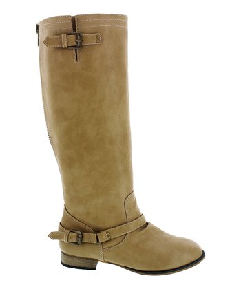Beige Double-Buckle Kaja Boot