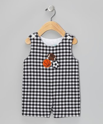Black & White Gingham Sports Balls Shortalls - Infant & Toddler