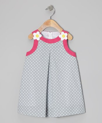 Light Blue Polka Dot Swing Dress - Girls