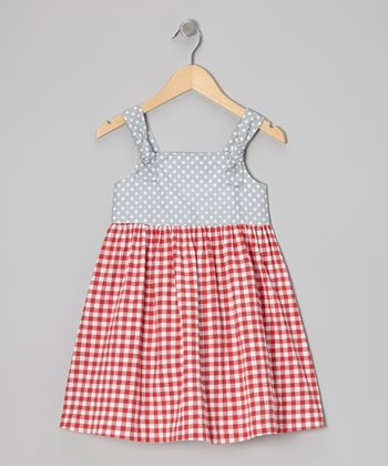 Red Gingham Apron Dress - Toddler & Girls