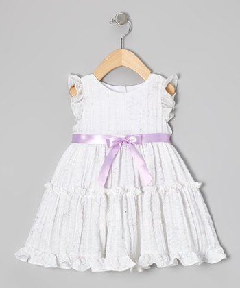 White Embroidered Ruffle Dress - Infant & Toddler