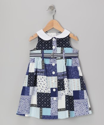 Blue Patchwork Collar Dress - Girls