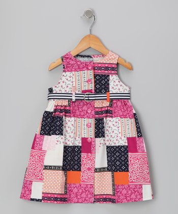 Blue & Pink Patchwork Dress - Toddler
