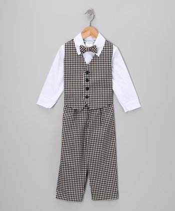 Black & White Gingham Vest Set - Toddler