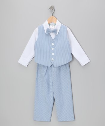 Blue Stripe Vest Set - Toddler