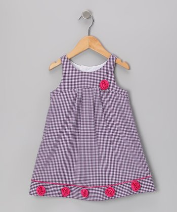 Purple Gingham Rosette Dress - Toddler