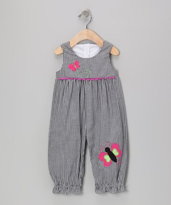 Black Gingham Butterfly Playsuit - Infant