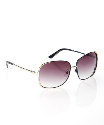 Gold Square Frame Pilot Sunglasses