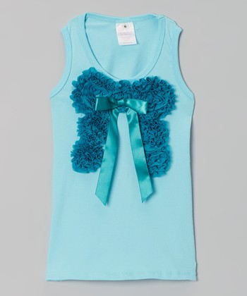 Aqua & Teal Chiffon Bow Tank - Infant, Toddler & Girls