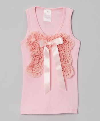 Pink Chiffon Bow Tank - Infant, Toddler & Girls