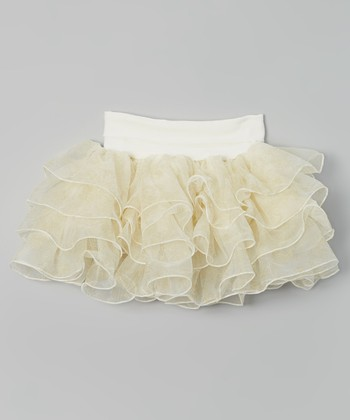 Cream & Gold Glitter Ruffle Skirt - Infant & Toddler