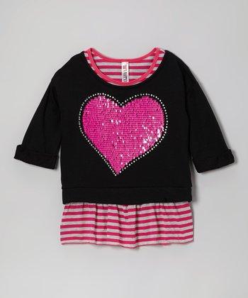 Pink Stripe Tank & Black Heart Crop Top