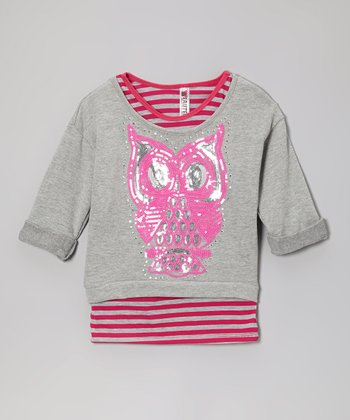 Pink Stripe Tank & Heather Gray Owl Crop Top - Girls