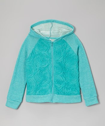 Winter Blue Rose Zip-Up Hoodie