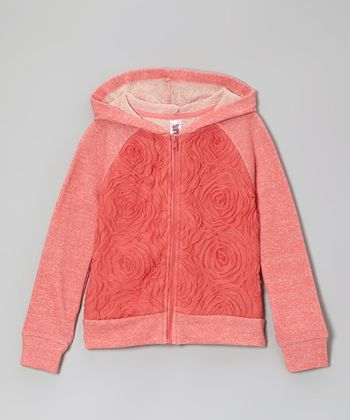 Sea Coral Rose Zip-Up Hoodie