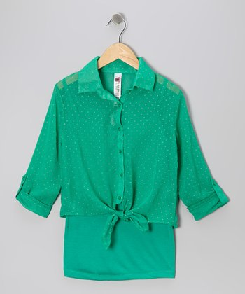 Emerald Tank & Pin Dot Tie-Front Button-Up