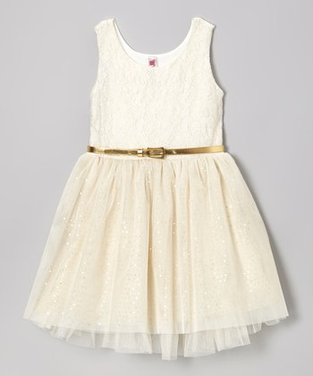 Ivory Lace Sparkle Dress