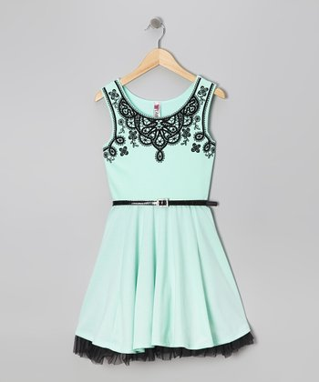 Mint & Black Floral Dress