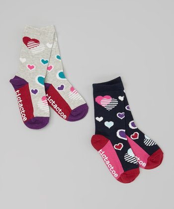 Gray & Navy Heart Socks Set - Toddler & Girls