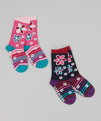 Pink & Navy Flower Socks Set - Toddler & Girls