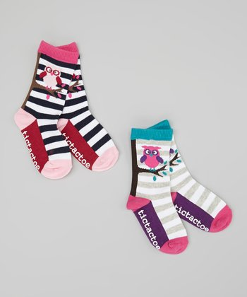White & Navy Stripe Owl Socks Set - Toddler & Girls