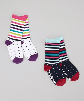 White & Navy Pin Dot Stripe Socks Set