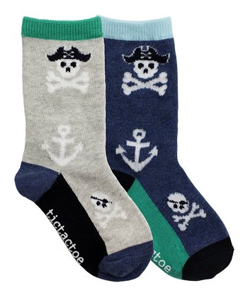 Gray & Navy Pirate Anchor Socks Set