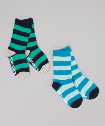 Navy & Blue Stripe Socks Set - Toddler & Boys