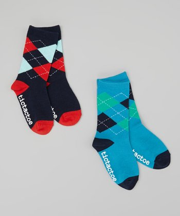 Blue & Navy Argyle Socks Set - Toddler & Boys